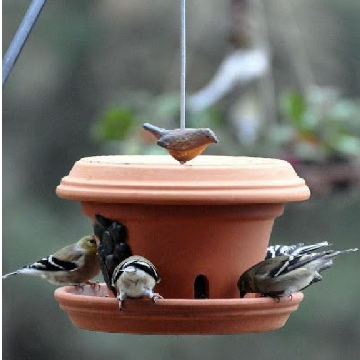 Clay pot birdfeeder