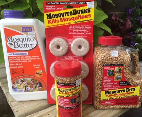 Items to control mosquitoes - Mosquito Dunks, Mosquito Bits and Mosquito Beater - available at Hillermann Nursery and Florist