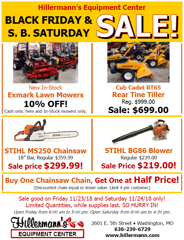 Hillermann Equipment Black Friday and Small Business Saturday specials for 2018