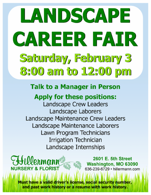 Career Fair at Hillermann Nursery and Florist on 2-3-18 from 8 am to 12 pm