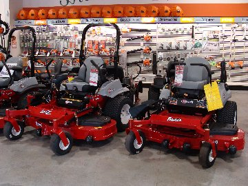 Exmark zero turn mowers and STIHL products on the sales floor at Hillermann Nursery and Florist Equipment Center