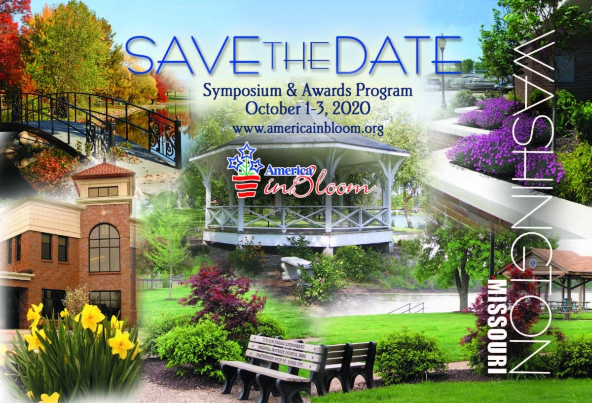 America In Bloom Save The Date for 2020 in Washington MO - graphic