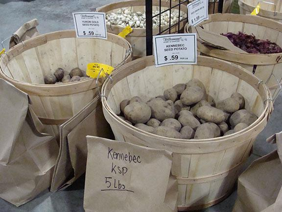 Seed potatoes in the Garden Center at Hillermann Nursery and Florist