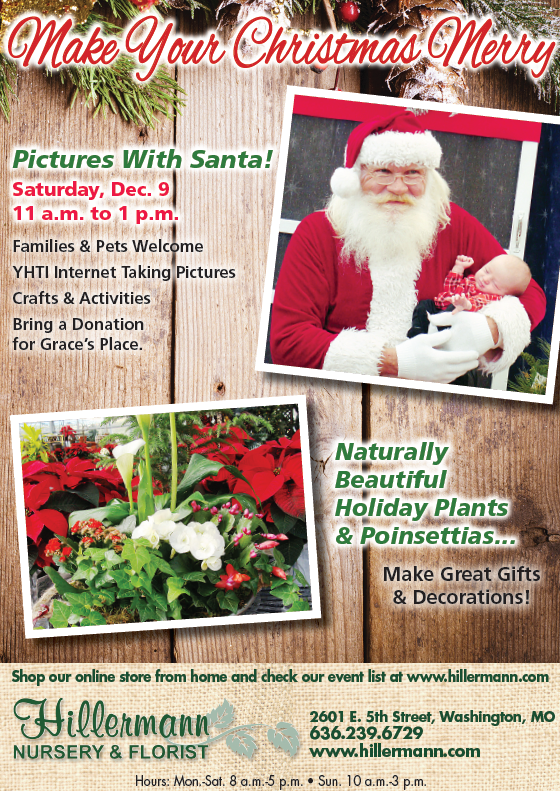 The Hillermann Nursery and Florist ad in the 12-6-17 issue of the Washington Missourian