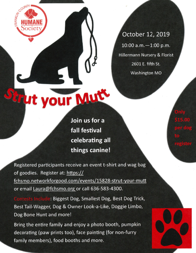 Franklin County Humane Society - Strut Your Mutt 2019 - to be held at Hillermann Nursery and Florist event flyer