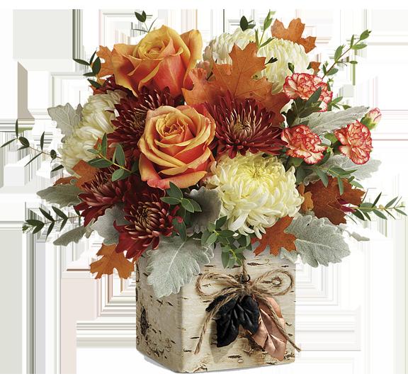 Teleflora fall arrangement available at Hillermann Nursery and Florist