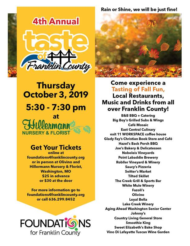Taste of Franklin County by Foundations for Franklin County at Hillermann Nursery and Florist on 10-3-19 from 5.30 to 7.30 pm - visit foundations4franklincounty.org for more information