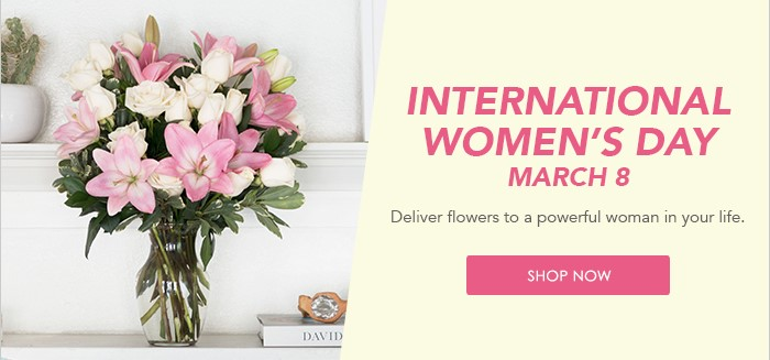 International Women's Day - March 8, Picture and graphic by Teleflora. Visit www.hillermannflorist.com