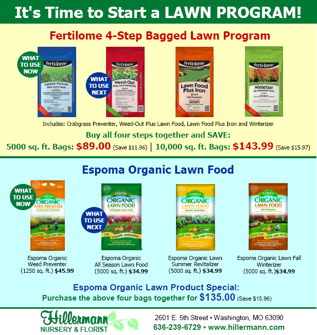 Fertilome and Espoma bagged lawn programs available at Hillermann Nursery and Florist