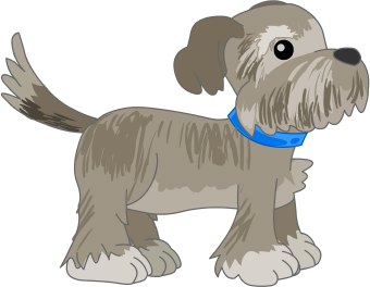 A clip art drawing of a furry dog