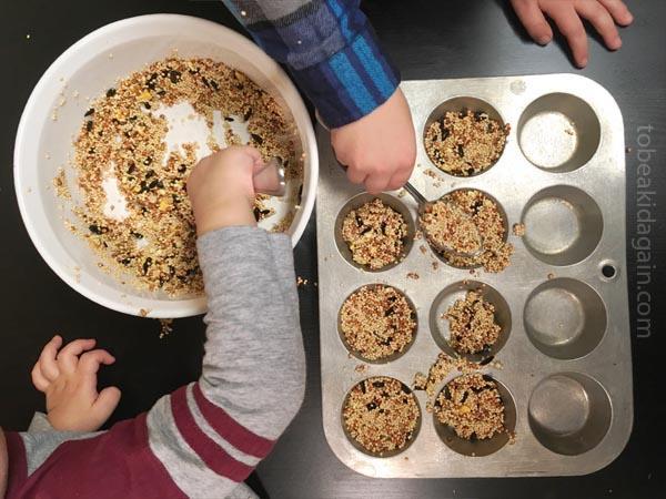 Making birdseed cookie feeders