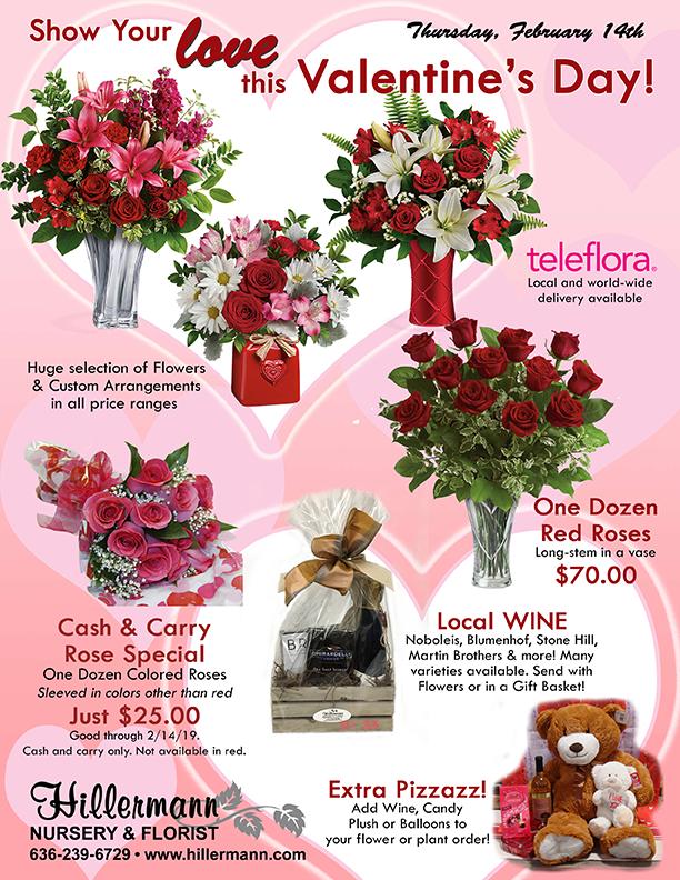 Hillermann Nursery and Florist Valentines Day Flyer for 2019 - order online at www.hillermannflorist.com