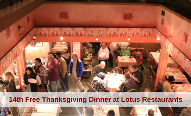 14th Free Thanksgiving Dinner at Lotus Restaurants
