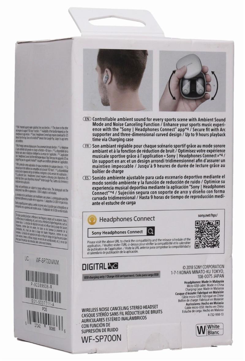 Sony Wireless Bluetooth In Ear Headphones /Noise Cancelling Sports Workout Ear Buds/  White WF-SP700N/W