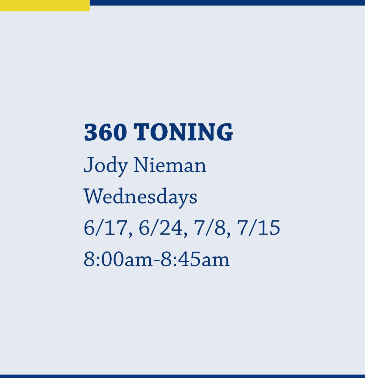 360 Toning with Jody Nieman on Wednesdays from 8:00am-8:45am