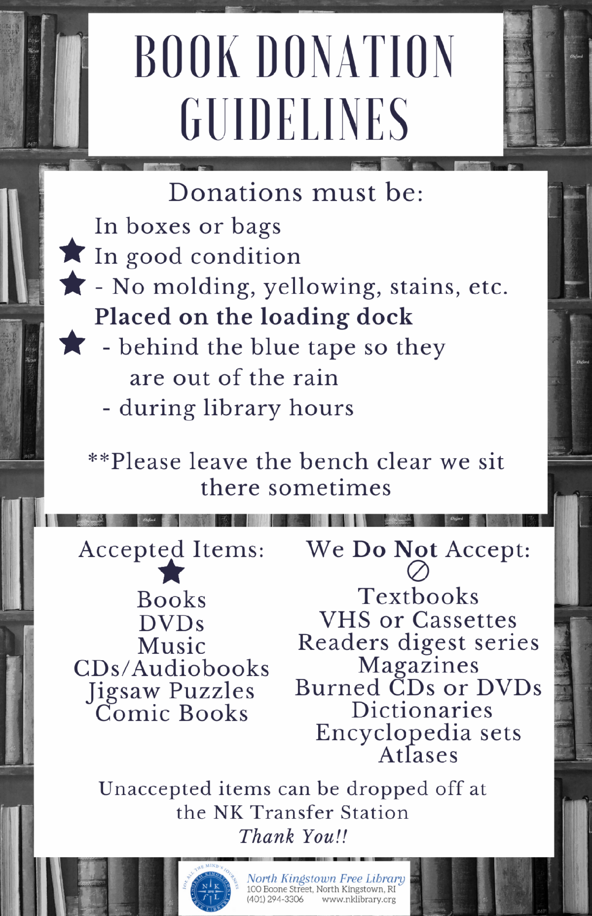 Image of the book donations guidelines. If you have questions about what is and is not accepted, call the library at (401) 294-3306.