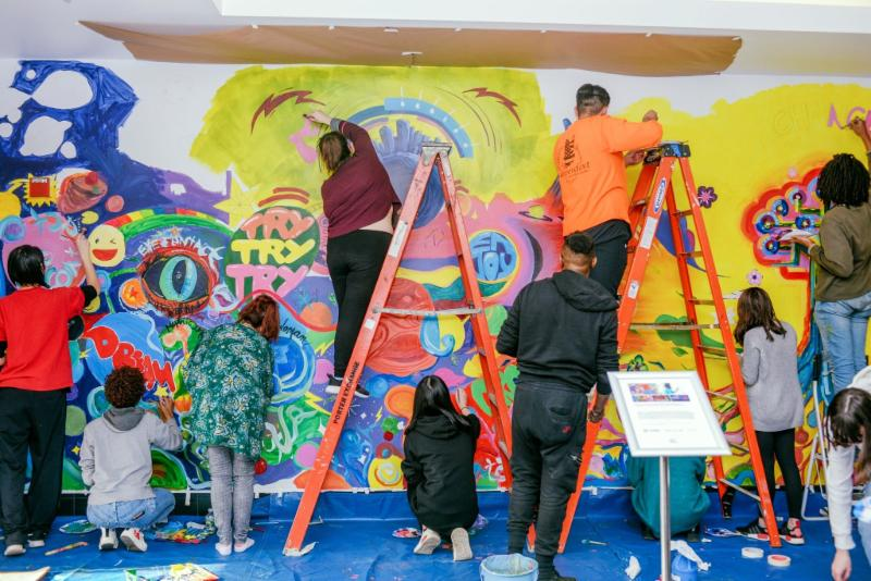 Artists for Humanity collaborative mural with Kaz Oomori
