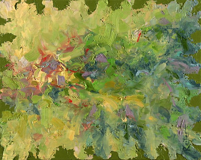 Abstract painting by dave reiter primary color is yellow-green