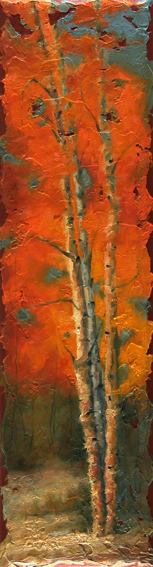 Representational painting by dave reiter of aspen trees in the fall.