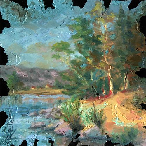 painting by dave reiter of tree near blue water