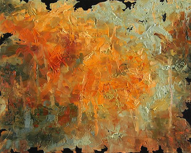 Abstract painting by dave reiter primary color is orange and fall colors