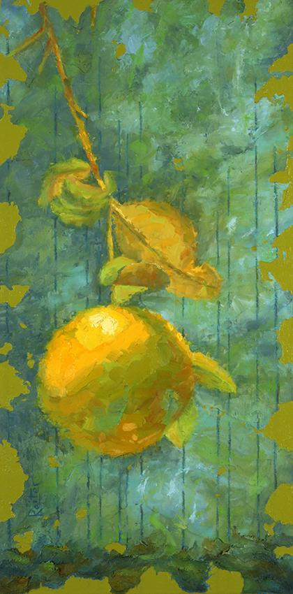representational painting by dave reiter of grapefruit