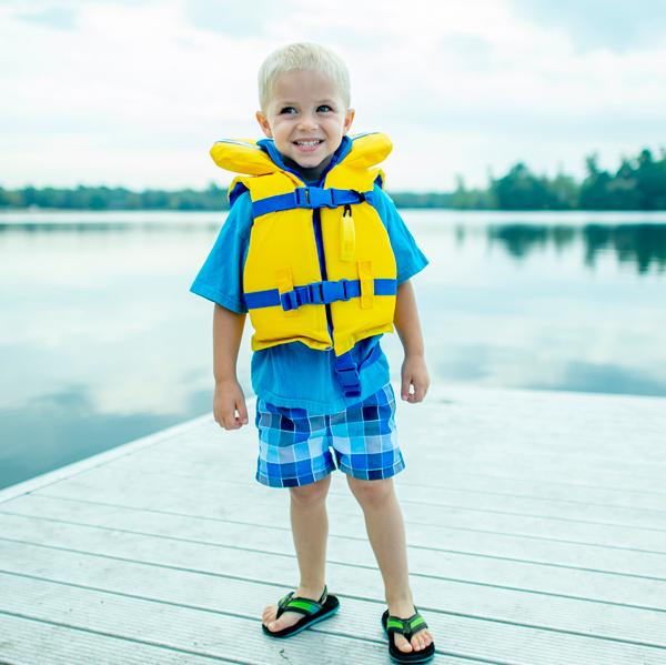 Boy on Lake Pier Image
