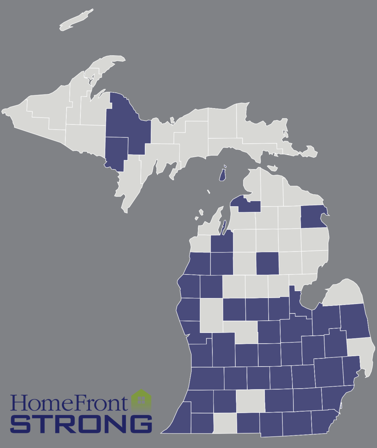 Image of Michigan with cities shaded a darker blue color