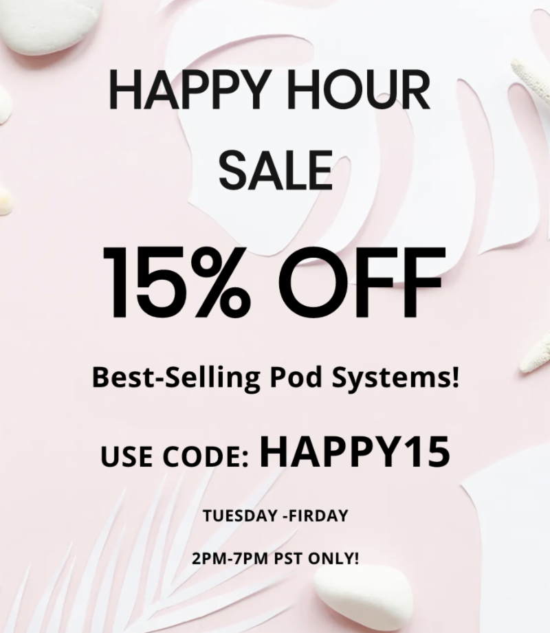 VaporDNA com Newsletter: Happy Hour Sale is on! 15% off RELX
