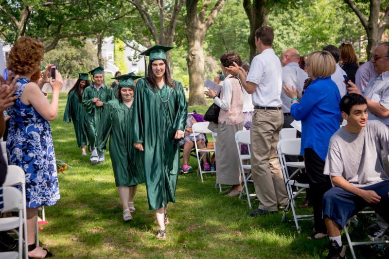 Students walking in graduation