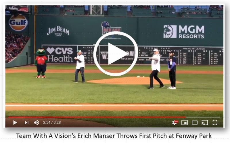 Screenshot of Erich Manser Throwing first Pitch at Fenway Park
