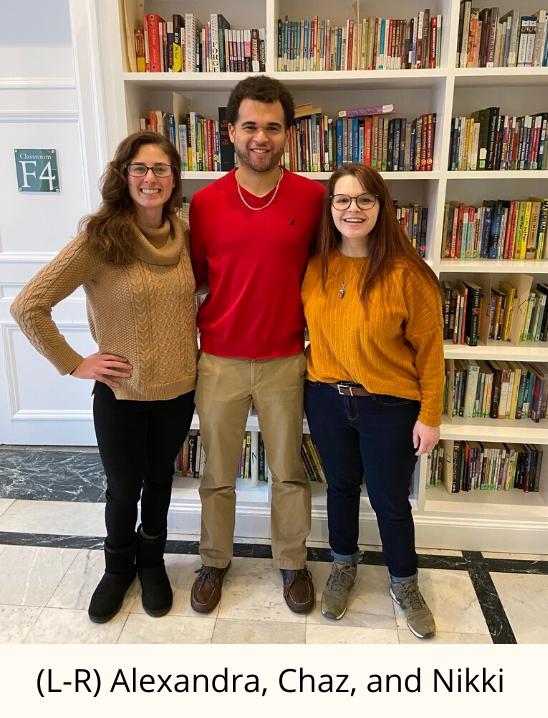 (l-R) Alexandra, Chaz, and Nikki standing in front of a bookshelf