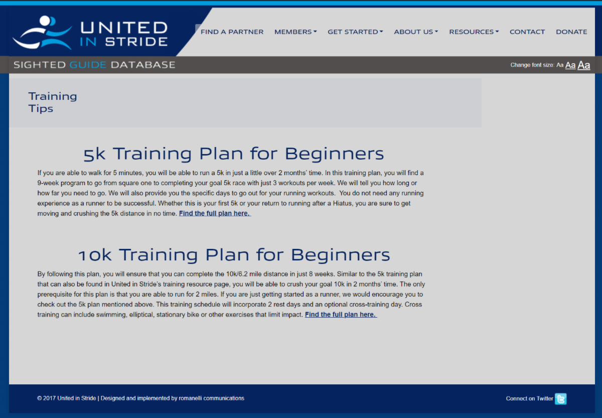 Screenshot of UIS training tips webpage