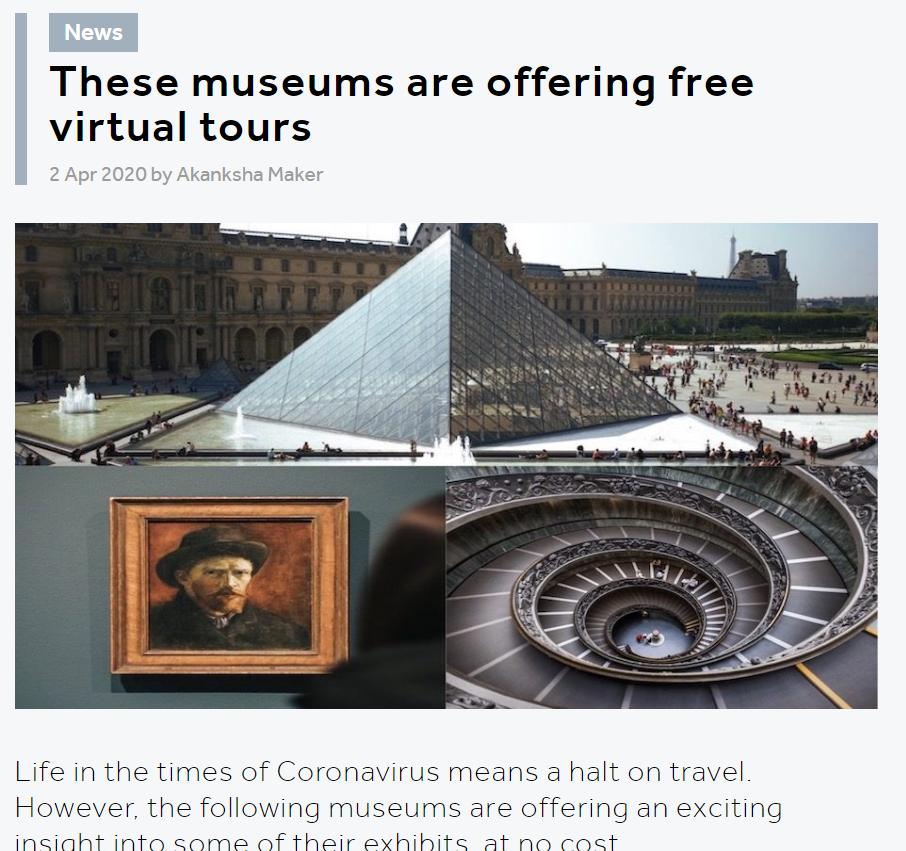 Screenshot of a virtual museum website