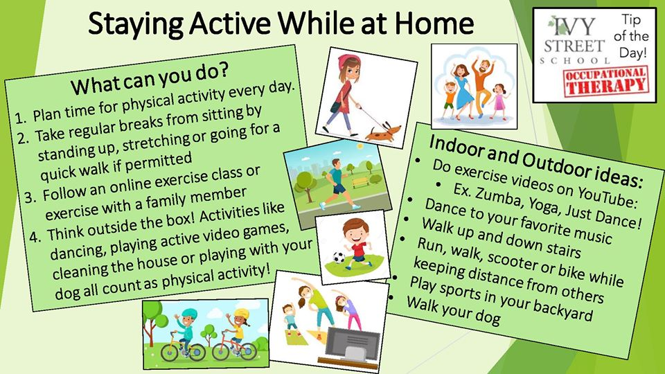"""""""Staying Active at Home"""" a collage of images of people doing activites along with tips for indoor and outdoor activities"""
