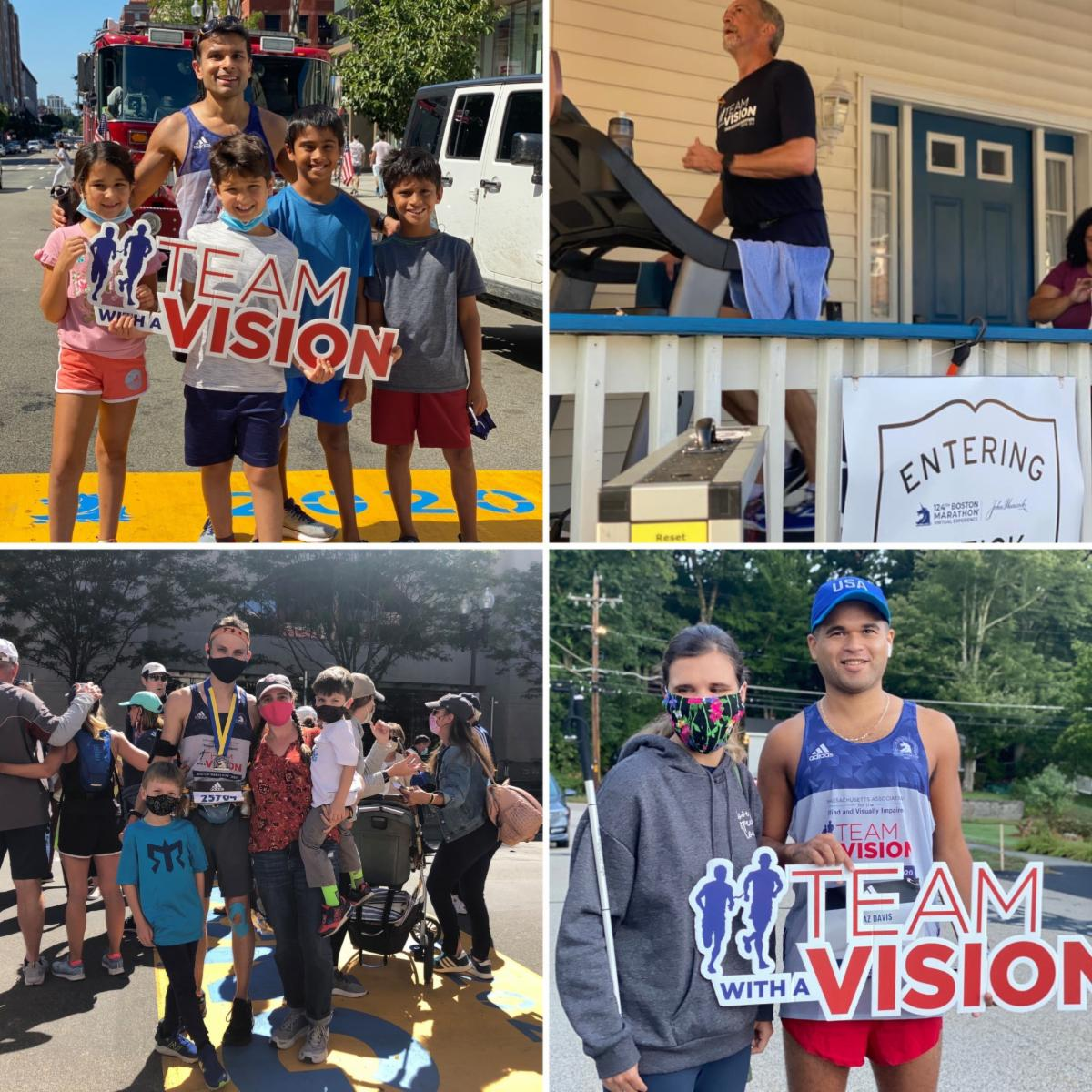 Collage of 4 photos of runners completing their virtual marathon. Chirag Shah and Martin Coster at the finish line on Boylston St, Randy Pierce on a treadmill on his porch, and Chaz Davis with his girlfriend finishing in Groton MA