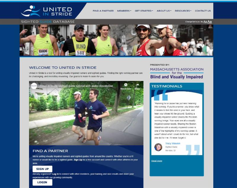 Screenshot of the United in Stride Website