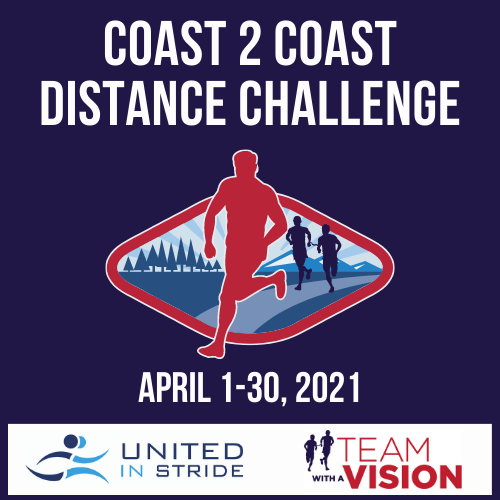 Image: Silhouette of runners, one with a guide, over an image representing coast to coast Text: Coast 2 Coast Distance Challenge April 1-30, 2021 United ins Stride and MABVI logos