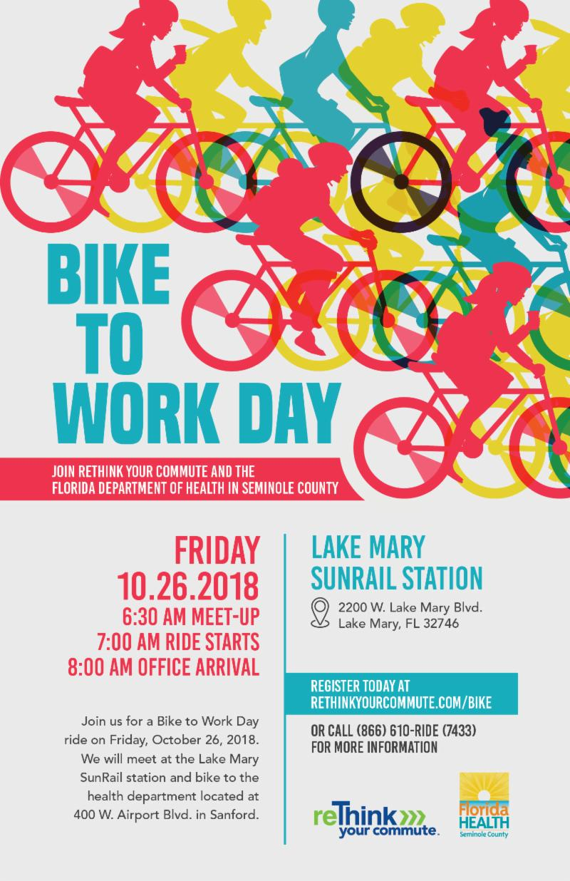 October 26 Florida Department of Health in Seminole County Bike to Work Day