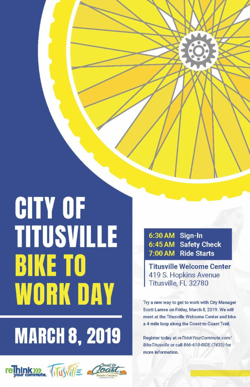 Titusville Bike to Work Day March 8 2019