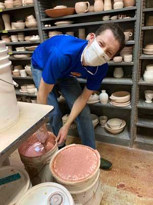 Felix Nicol making glazes