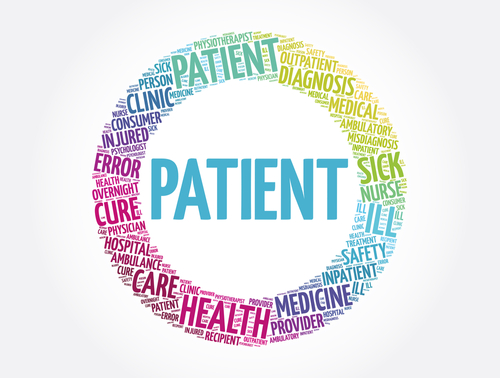 Patient word cloud collage_ health concept background