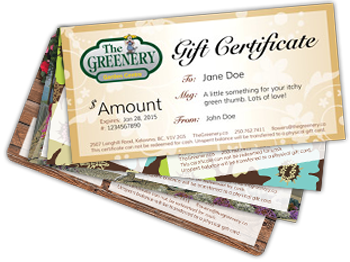 The Greenery Gift Certificates
