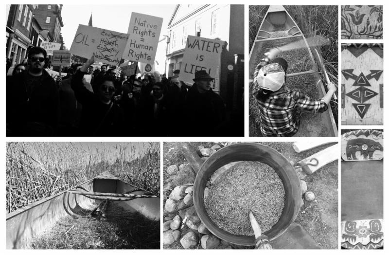 "Collage of images: protesters with signs that say ""Water is Life"", a person in a canoe, food, images of indigenous drawings."
