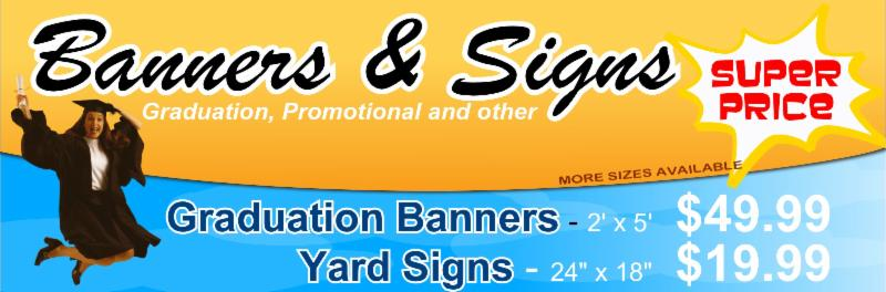 graduation signs and banners
