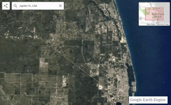 A map of West Palm Beach-Jupiter, Florida.