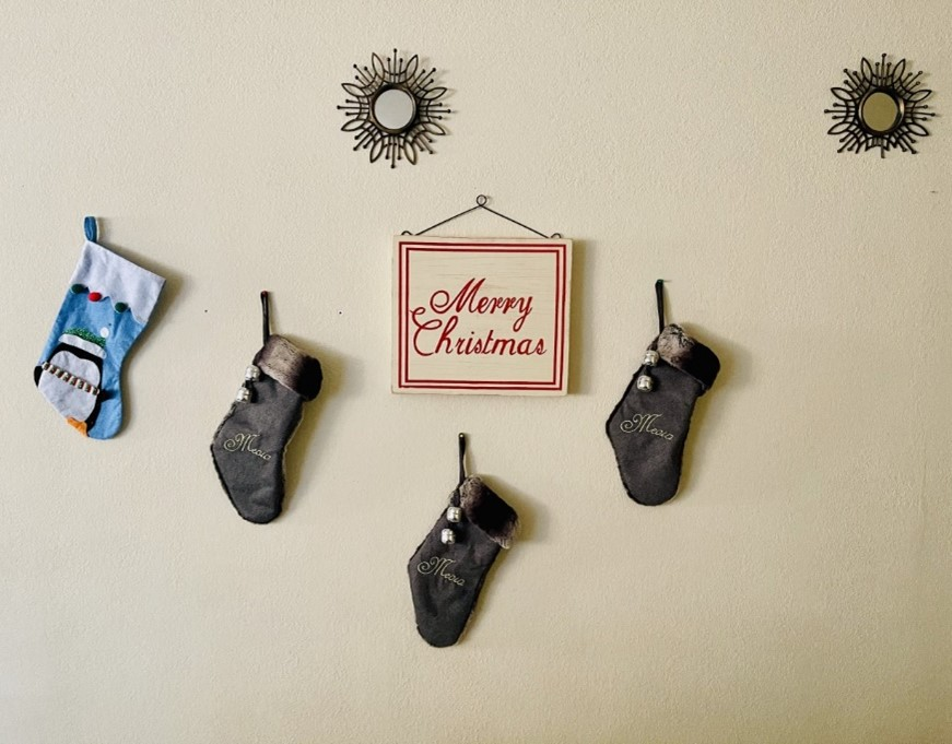 stockings hanging on a wall