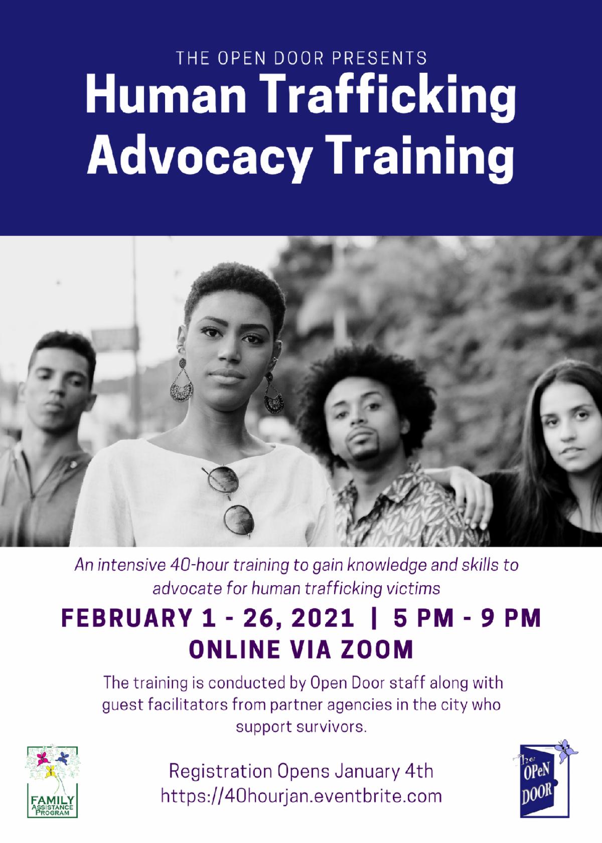 human trafficking advocacy training poster