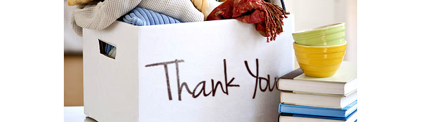 a box with thank you written on it