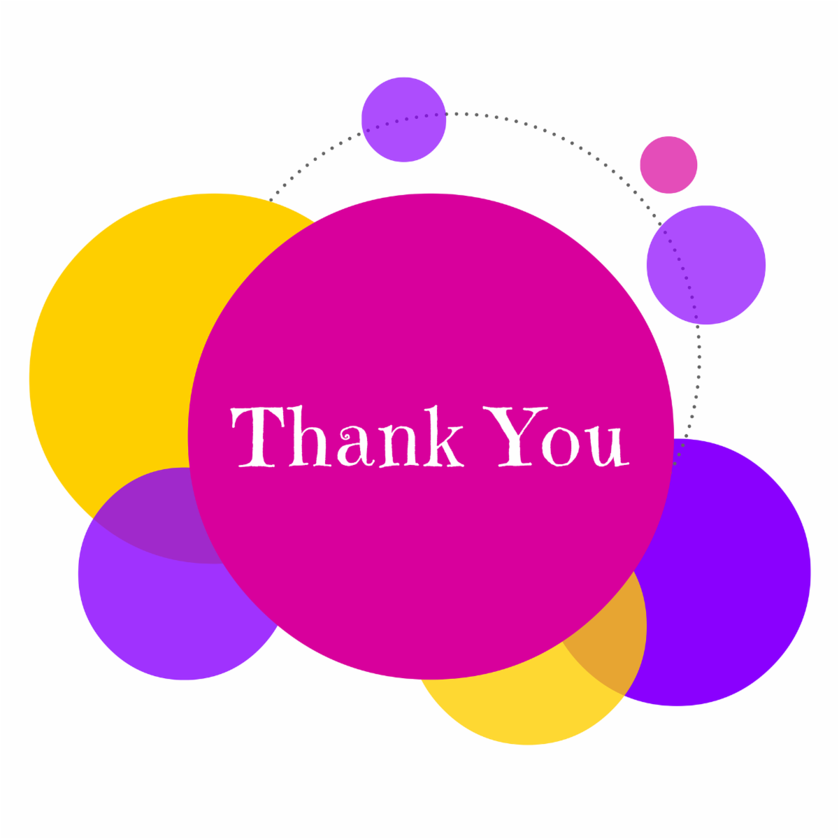 illustration with colorful circles saying thank you